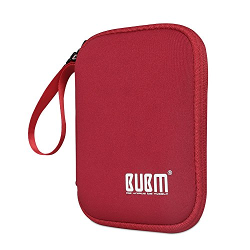 External Hard Drive Case, BUBM Soft Carrying Travel Case for 2.5-Inch Portable External Hard Drive/Portable Hard Drive Protection Box Case/Electronics Travel Organizer/Cable Bag-Red