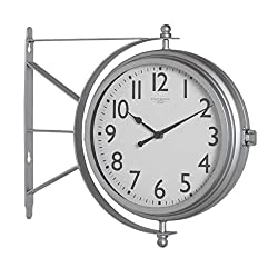 Studio Designs Home 18 Dual Face Clock and Thermometer, 15.75 W x 14.25 H x 3.25 D, Silver/Metro Station