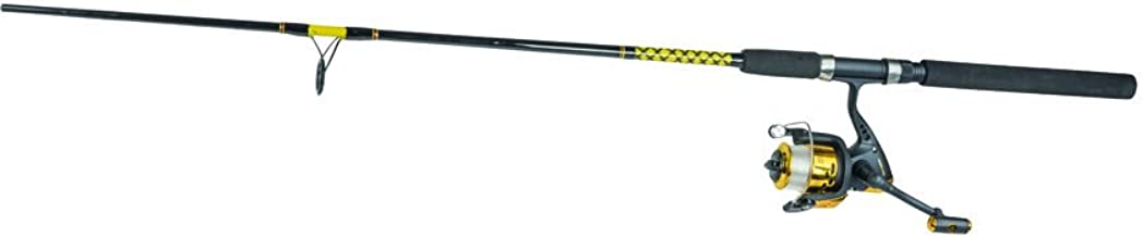 Master Fishing Tackle Roddy Gator Tail Series Combination Mounted Line Rod for 350/RG-66 6-1/2' Spin 7 BB (2 Piece), Black/Yellow