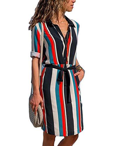 kenoce Tunika Kleid Damen Knielang Blusenkleid Kurze Kleider Freizeitkleid Hemdkleid Strandkleider Langarm Mit Gürtel Gestreiften 1 S