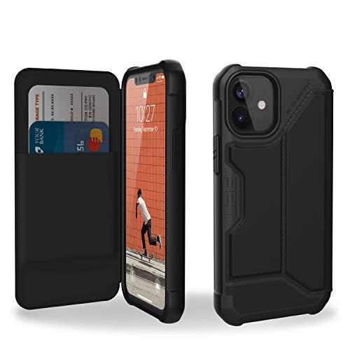 "Urban Armor Gear Metropolis Folio Hülle Apple iPhone 12 mini (5,4\"") Klapphülle [Wireless Charging (Qi) kompatibles Cover, Handyhülle mit Standfunktion & Kartenfächern] Satin ARMR schwarz, 112346113840"