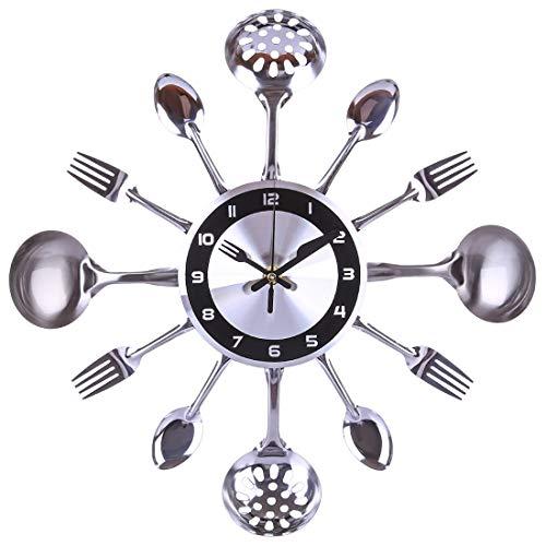NFtop 35cm Reloj de Pared Creativo de Acero Inoxidable Cuchara de Cocina Reloj de Tenedor Reloj de Pared silencioso para decoración del hogar
