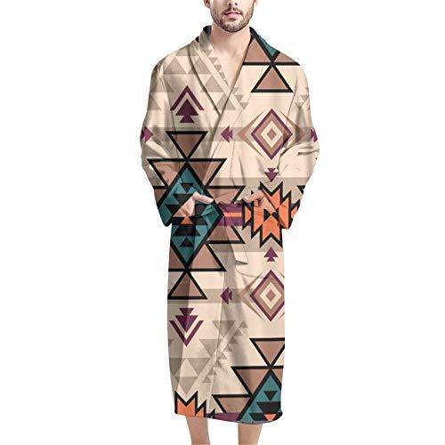 SEANATIVE Vintage Aztec Ethnic Style Mens Sleepwear Premium Bathrobe for Males Luxury Spa Bathrobe Summer Indoor Shawl Robe