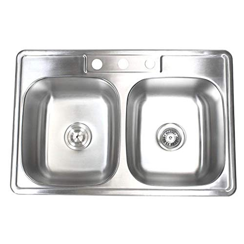 33 inch Topmount Drop-In Stainless Steel 18 Gauge Double Bowl 50/50 Kitchen Sink- with 3 Faucet Holes