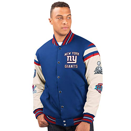 G-III Sports New York Giants Men's 4 Time Super Bowl Champions Victory Formation Varsity Jacket (X-Large)