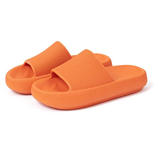 SHUIZHUYU Pillow Slides Flip Flops,Universal Quick Drying Thickened Non Slip Sandal,Soft Home Slippers,Open Toe Soft Slippers,For Women Men 39-40 Orange