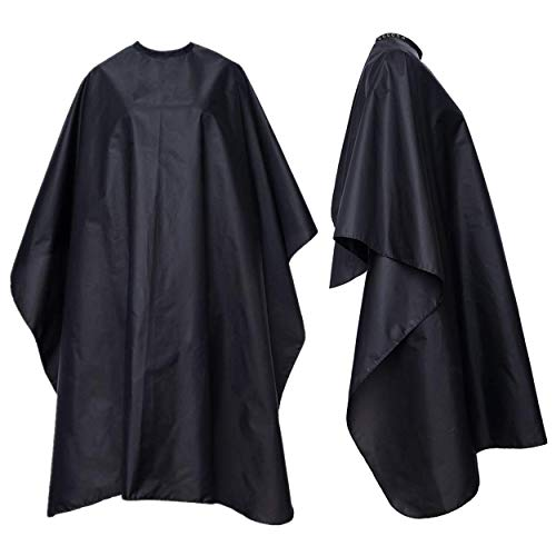 CoFly Barber Cape - Pack of 1, Unisex Salon Cape, Black, Water-Proof, Nylon, Professional, Hair Cutting Cape with Adjustable Snap Closure for Cutting, Coloring, and Hair Style Treatment - 51 x 59 inch