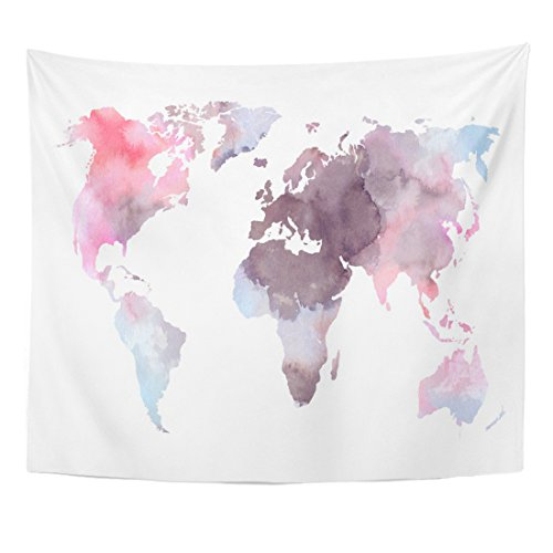 Emvency Tapestry Atlas Colorful World Map Watercolor Abstract Perfect Watercolour Africa Pink Home Decor Wall Hanging for Living Room Bedroom Dorm 50x60 inches