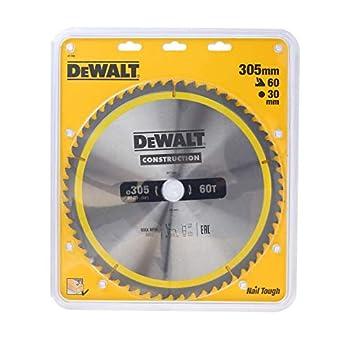 DEWALT - Lame de Scie Circulaire Stationnaire Construction - DT1960-QZ - Lame Construction pour Scies Circulaires - Lame Ø305mm - Taille de l'Alésage 30mm - Épaisseur 2mm - 60 Dents