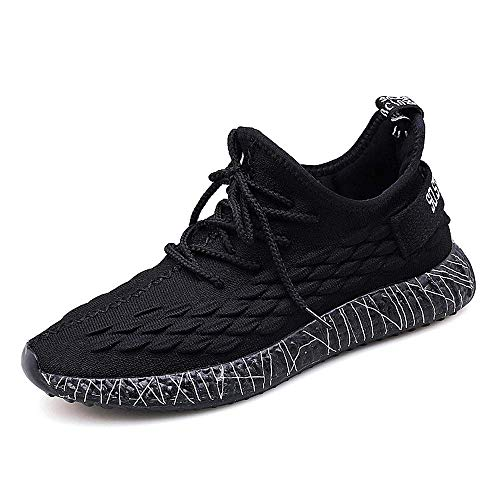 Releson Men's Casual Non-Slip Shoes Will Shine at Night Running Shoes Indoor and Outdoor Fitness Black Breathable Sneakers (11 B (M) US, Black)