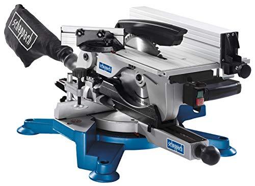 Scheppach HM100T Afkortzaag (tafelcirkelzaag met 1800 watt, zaagblad Ø254 mm, snijbreedte 110 mm, snijhoogte 70 mm, zaagblad met 60 tanden)