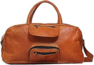 TUZECH Hard Bound Rustic Leather Light Weight Duffel Travel Bag 20 inch