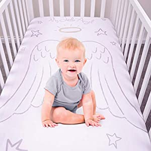 My Tiny Moments Flannel Photo Op Fitted Crib Sheet, Angel