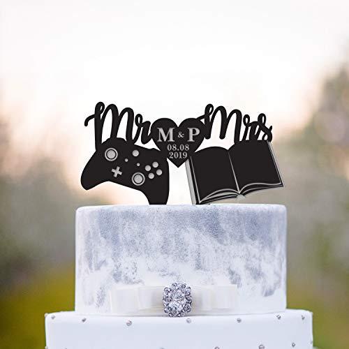Gamer Wedding Book Lover Cake Topper Video Game Bookish Wedding Cake Topper Game Controller Literary Wedding Topper Book Nerd Topper
