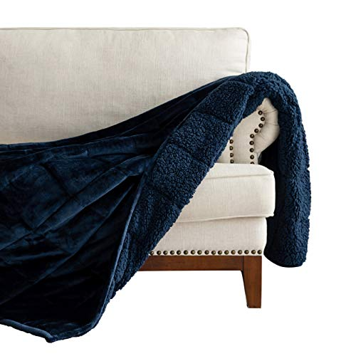Lofus Sherpa Fleece Weighted Blanket 20 lbs Heavy Blanket with Soft Plush Flannel Reversible Full-Size Super Soft Extra Warm Cozy Fluffy Blanket 60 x 80 inches for Adult Bed Couch, Navy Blue