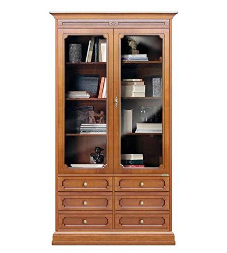 Büchervitrine mit 2 Glastüren und unterbau Schubladen, Holzmöbel Bücherregal klassisch mit Schubladen, Vitrine 2 Türen im Stil für Wohnzimmer Büro Schlafzimmer Esszimmer, Möbel aus Italien, B104xT34,5xH193,5 cm
