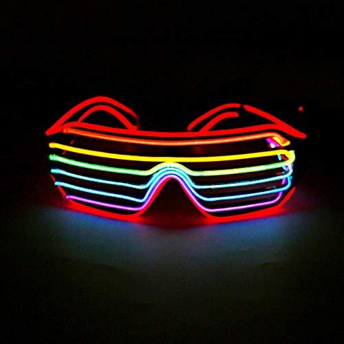 Bestcool LED Sonnenbrille, LED Brille Verstellbare Neon EL Wire Neon Brille mit Kontrollbatterieetui (Batterie Ist Nicht im Lieferumfang Enthalten) für Festivalgeburtstagsfeier Weihnachten Halloween