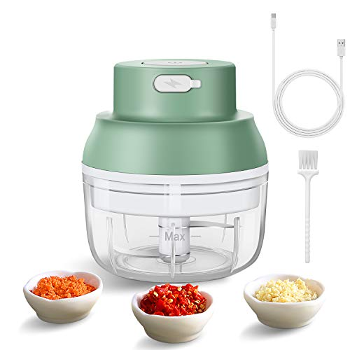 Electric Mini Garlic Chopper - Wireless Food Slicer And Chopper - Mini Chopper Food Processor For Garlic/Fruits/Vegetables/Onions/Nuts/Pepper/Ginger/Salad/Baby Food (100ML Green)