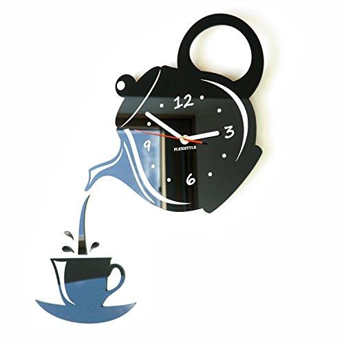 Moderno Reloj de Pared para la Cocina Taza y Jarra Negro, 45 cm x 45 cm, 3D, silencioso