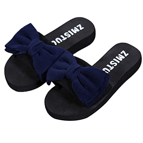 WWricotta Women Bow Summer Sandals Slipper Indoor Outdoor Flip-Flops Beach Shoes Blue