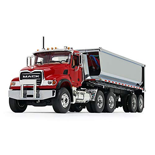 First Gear 1/34 Scale Diecast Collectible Red/Chrome Mack Granite with Round Body End Dump Trailer (10-4181)