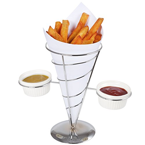 """Creative Home 73229 Works French Fry Set Single Cone Holder with 2 Ceramic Ramekins, 9"""" x 5"""" x 8.5"""" H, Chrome Finished"""