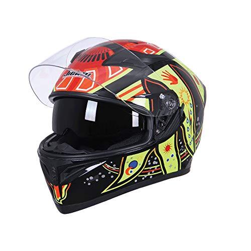 Xwenx Casco de moto de calle ventilado para deportes de flujo de aire, unisex, aprobado por DOT, para adultos, ligero, cara completa, casco de bicicleta de calle, M
