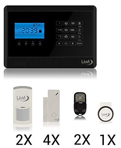 LKM Security WG-YL007M2E + 3S + 1pir Antirrobo gsm inalámbrico, Apto para Alarma Casa y Oficina, sin Hilos, Domótica para móvil, Negro, S