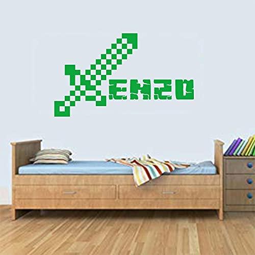 Nombre de la personalidad del bebé tallado en vinilo pegatina de pared extraíble flecha niño niña póster decoración de la habitación pegatina de fondo A6 55x60cm
