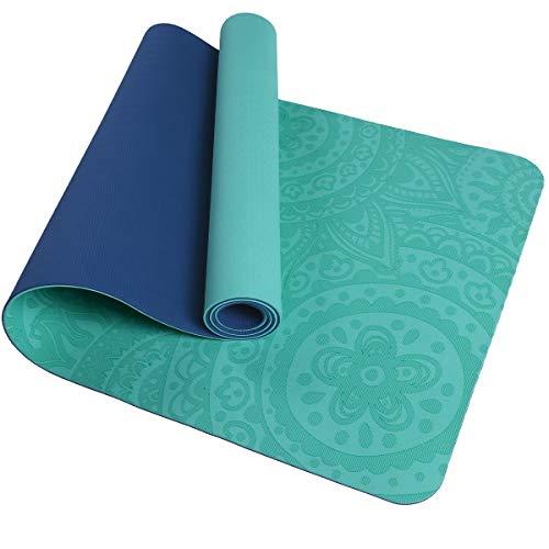 TOMSHOO Colchoneta Yoga Antideslizante, Esterilla Yoga de TPE 6mm, Alfombra Pilates Doble Color con Bolsa de Malla (183 * 61 * 0,6cm) (Verde y Azul)