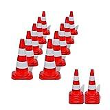 SOULONG 10 Conos de tráfico de polietileno, plegables, cono de escalera rojo y blanco reflectante, cono de advertencia para deporte, exterior, eslalon, altura 50 cm