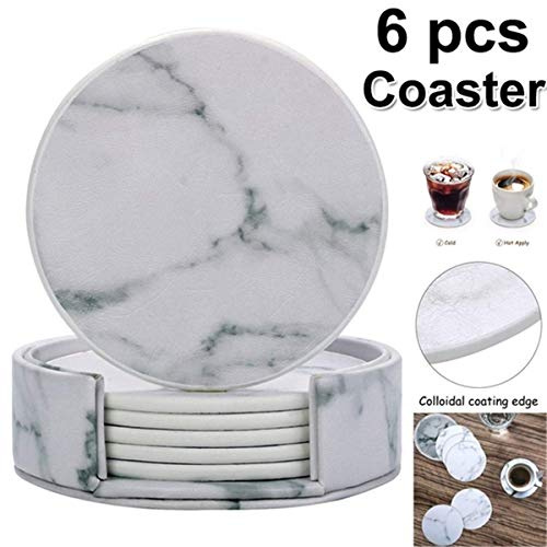 WXQ-XQ 6Pcs Marble Cup Coaster Round Leather Heat Insulation Mat for Kitchen Table Home