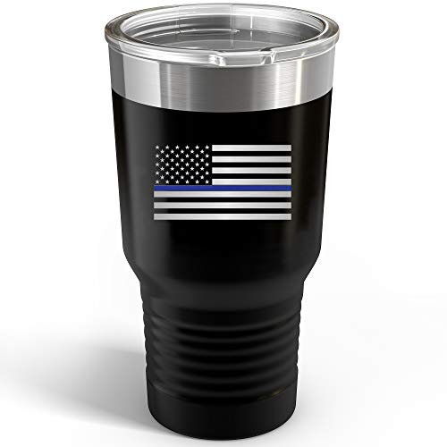 Thin Blue Line American Flag - Stainless Steel Double Wall 30oz Travel Tumbler Mug
