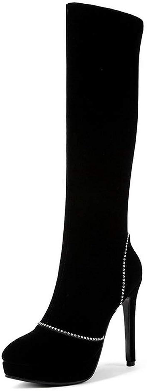 AdeeSu Womens Spikes Stilettos Platform Rhinestones Imitated Suede Boots SXC03804