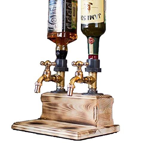 TBEONE Juego de decantador de whisky, dispensador de madera de whisky, decantador en forma de grifo de cerveza, accesorios para fiestas, cenas, bares, estaciones de bebidas