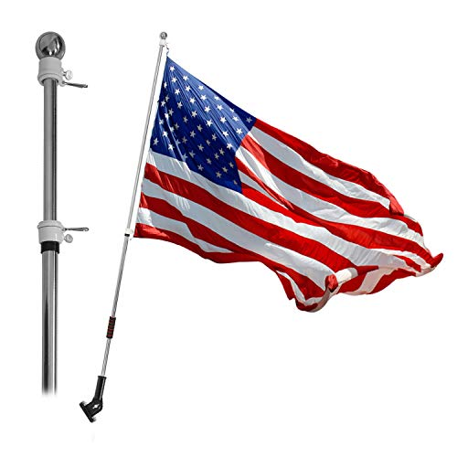 VAIIGO 6.5 FT Flag Pole, Telescopic Stainless Steel Spinning Flag Pole with 3x5 American Flag and Bracket Wall Mount Flag Pole for Commercial, Residential, Outdoor (Silver)