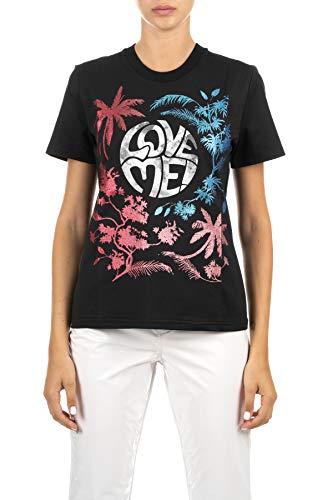 Alberta Ferretti T-Shirt schwarz mit Aufdruck Love Me mit Glietter Front, Logo mit Glitter auf der Rückseite, Schwarz Medium