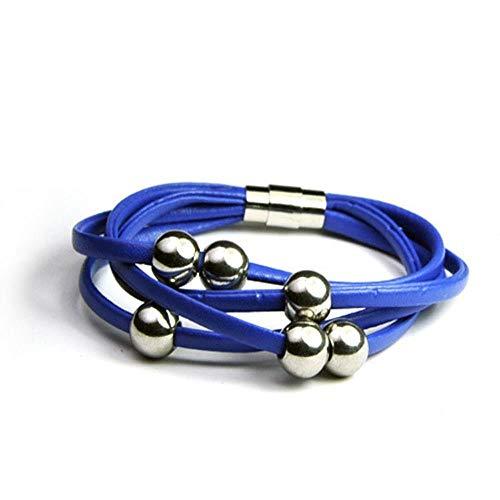 SLVVL Pulsera de Cuero Premium para Hombre en Hombre y Mujer de Acero Inoxidable Pulsera de Cuero Azul Zafiro