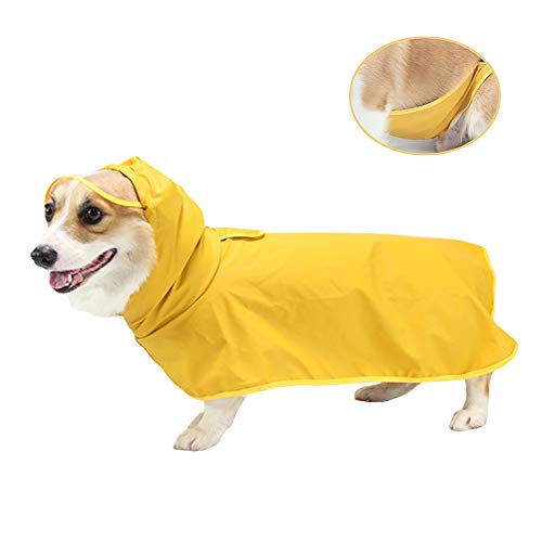 Dog Raincoat, Lightweight Dog Rain Jacket, Pet Waterproof Clothes Poncho for Small Medium Dogs, Dog Rainwear with Hood & Collar Hole Transparent Brim, Yellow Pet Rain Coat Gear for Your Puppy (3XL)