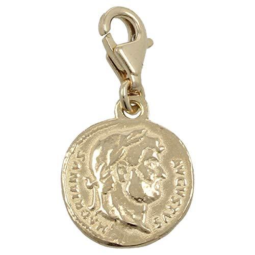 Gioiello Italiano - Colgante'Aureo Romano' de oro amarillo de 14 quilates con mosquetón, de 1,1 cm de diámetro, para collares y pulseras.