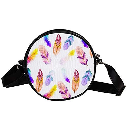 Bandolera redonda pequeña bolso de mano para mujer, bolso de hombro de moda, bolso de mensajero de lona, riñonera, accesorios para mujer, bohemia, plumas, hippie