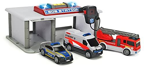 Dickie Toys SOS Station, Rettungsstation, Parkhaus für Polizei, Feuerwehr & Rettungsdienst, Notruf Zentrale mit Mikrofon, inkl. Spielzeugautos, Licht & Sound, inkl. Batterien, für Kinder ab 3 Jahren