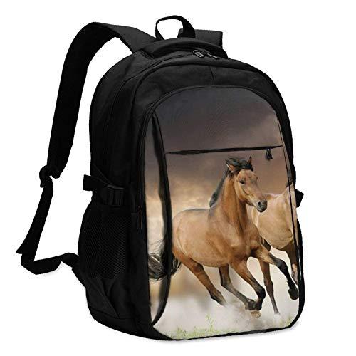 XCNGG Mochila USB con múltiples Bolsillos, Mochila Informal, Mochila Escolar Running Horse Travel Laptop Backpack with USB Charging Port Multifunction Work School Bag