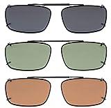 Eyekepper Grey/Brown/G15 Lens 3-pack Clip-on Polarized Sunglasses 54x34MM