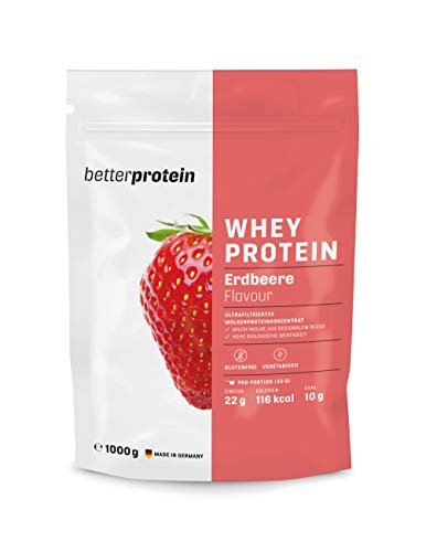 Whey Protein - Erdbeere 1 kg - Hergestellt in Deutschland aus regionaler Milch - BetterProtein® - Eiweißpulver zum Muskelaufbau und Abnehmen - Beutel