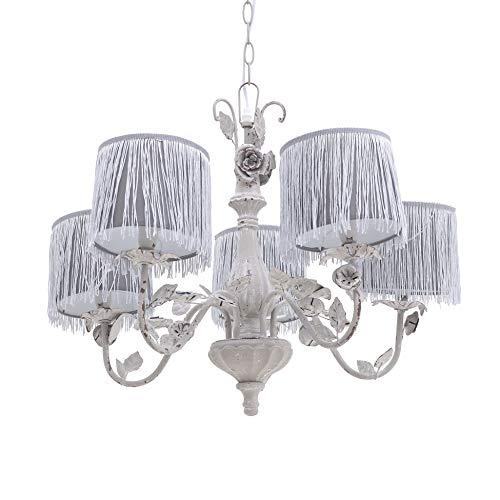 Inart - Lámpara de techo con flecos y 5 luces (62 x 62 x 50 cm), color gris