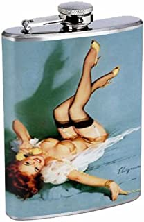 Redhead Pin Up Girl Telephone 8OZ Stainless Steel Flask D-010