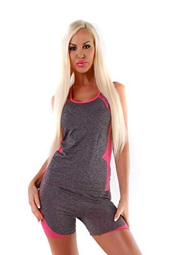 OSAB-Fashion 11297 korte dames joggingpak tanktop broek joggpants fitness sport pak neon