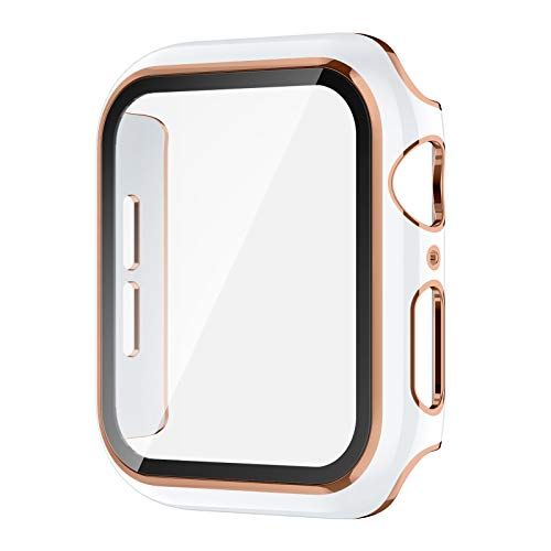 AVIDDA Case Compatible Apple Watch 40mm Built-in Tempered Glass Screen Protector, Rose Gold Edge White Bumper Full Coverage HD Clear Protective Film Cover for Women Men iWatch 40mm Series 6/5/4/se
