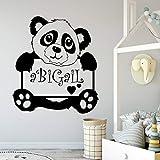wZUN Nombre Personalizado Panda Impermeable Pegatinas de Pared decoración de Pared Impermeable 33X37cm